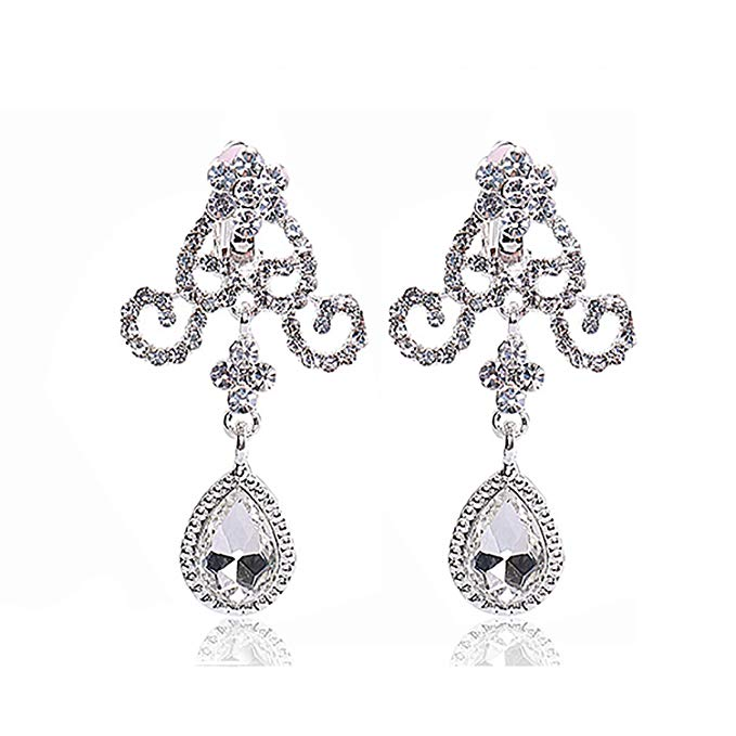Silver Rhinestone Crystal Necklace Earrings & Crown Set Wedding Jewelry Sets Bridal Necklace Tiara (5)
