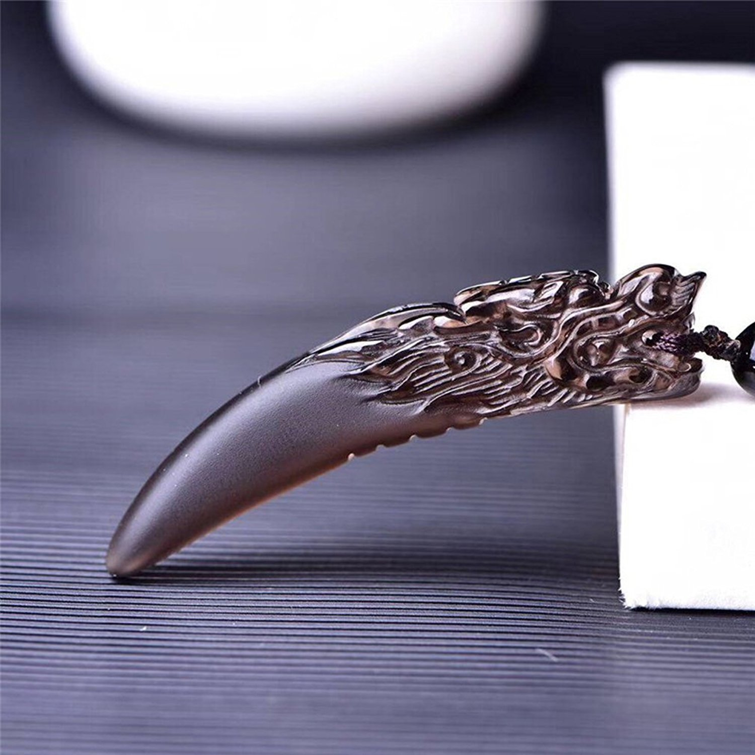 Fine Jewelry Pure Natural Ice Species Obsidian Superb Spike Totem Necklace Pendant Amulet