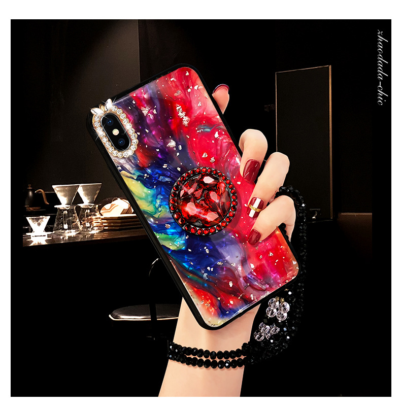 Rhinestone With Finger Ring Plush Chain Phone cover Case For iPhone 7 6 S plus 8 X XS XR MAX Strap Girls Women Kickstand Gift (11)