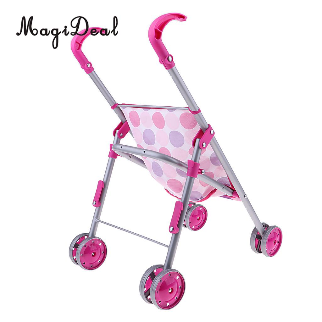 Mini Push Cart Doll Trolley for Nursery Room Furniture Decoration Doll Kids Pretend Play Toys Pink Dotted