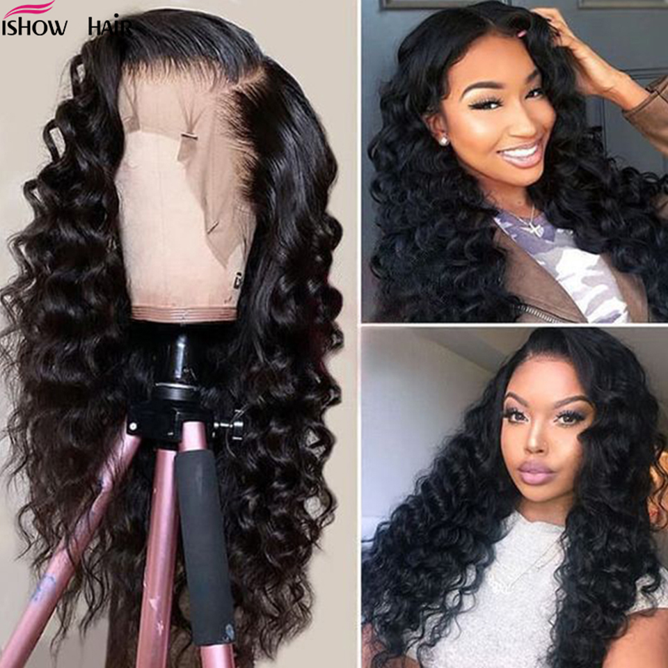 10A Full Lace Human Hair Wigs Loose Deep 13x4 Human Hair Lace Front Wigs Brazilian Hair Loose Wave 360 Pre-Plucked lace frontal wigs