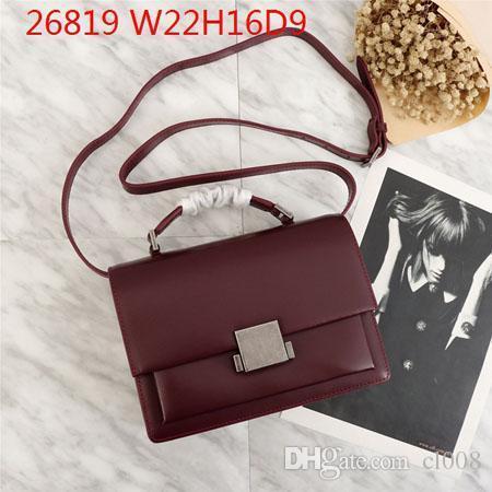 Precios amplios Bolsos de hombro multiusos Mujeres Ideal Crossbody 22 cm Increíble vintaged Hardware Hasp Bags con mango de cuero y correa larga