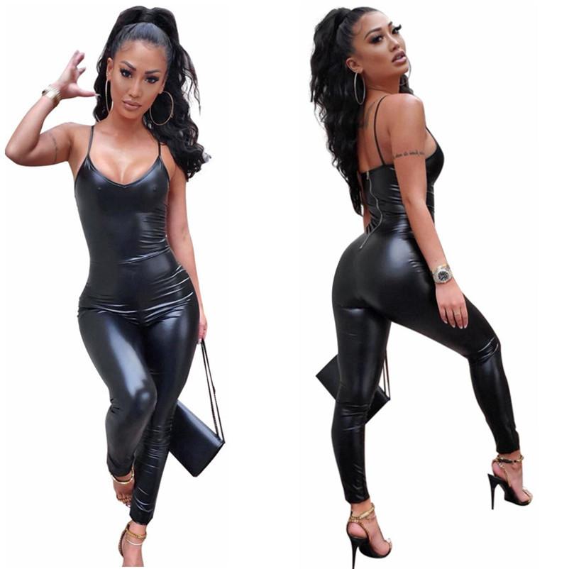 SportsX Women Faux Leather Evening Club Pu Hollow Bandage Short Jumpsuit