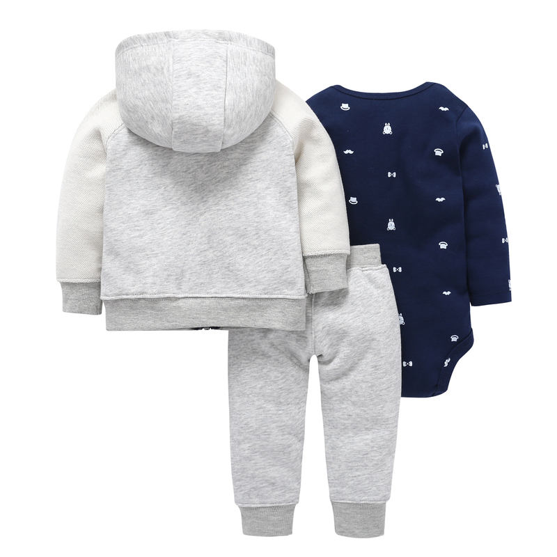 Autumn Winter Baby Outfit Long Sleeve Coat Zipper+cotton Bodysuit+pant Clothing Set 6-24m Baby Boy Girl Casual Costume J190520