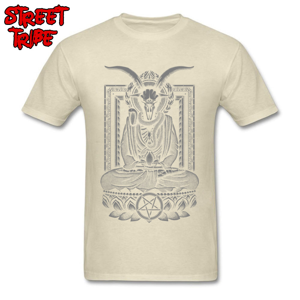 Tops & Tees Baphomet Nirvana Charcoal Tops Shirt Summer/Fall Cheap Funny Short Sleeve 100% Cotton O-Neck Men\`s T Shirts Funny Baphomet Nirvana Charcoal beige