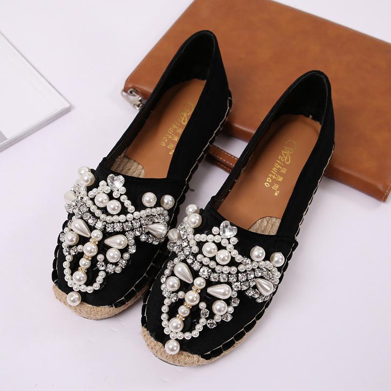31c6a2e4c Compre Moda Strass Sapatos Baixos Mulheres Marca De Luxo Doce ...