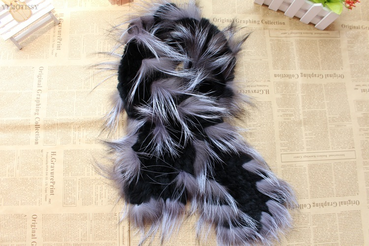 natural rex rabbit fur scarf silver fox fur (15)