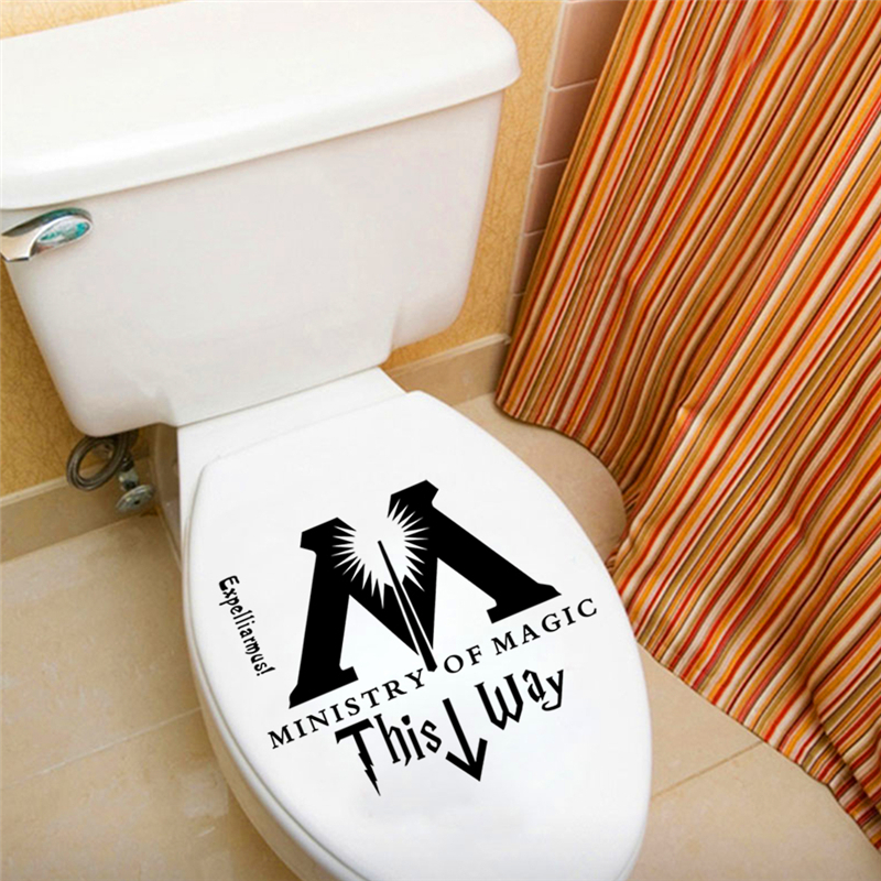 2019 Ministry Of Magic This Way Wall Stickers For Bathroom Toilet Home Decor Diy Harry Potter Parody Rest Room Wall Decals Art From Mart04 1 48