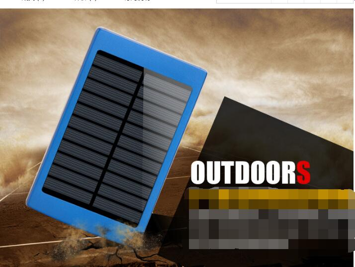 Dual USB Solar External Power Bank Battery Charger For Phone Tablet with LED Light Protection Design Fast Changing
