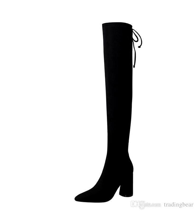 Charm2019 Elegant Black Back Knot Slim Fit Thick Heel Over The Knee Boots Sexy Women Designer Boots 8.5cm To
