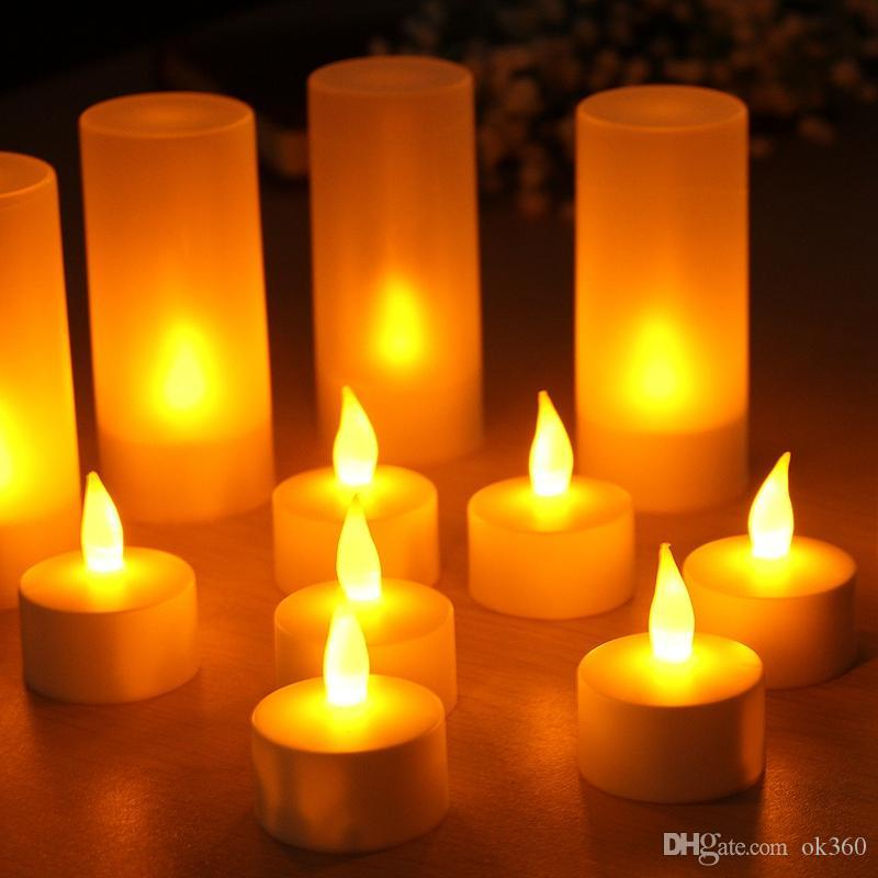 Yellow Flicker Led Candles Rechargeable Tea lights Candle Lamp Battery Operated Decorative Candles For Holiday Wedding party