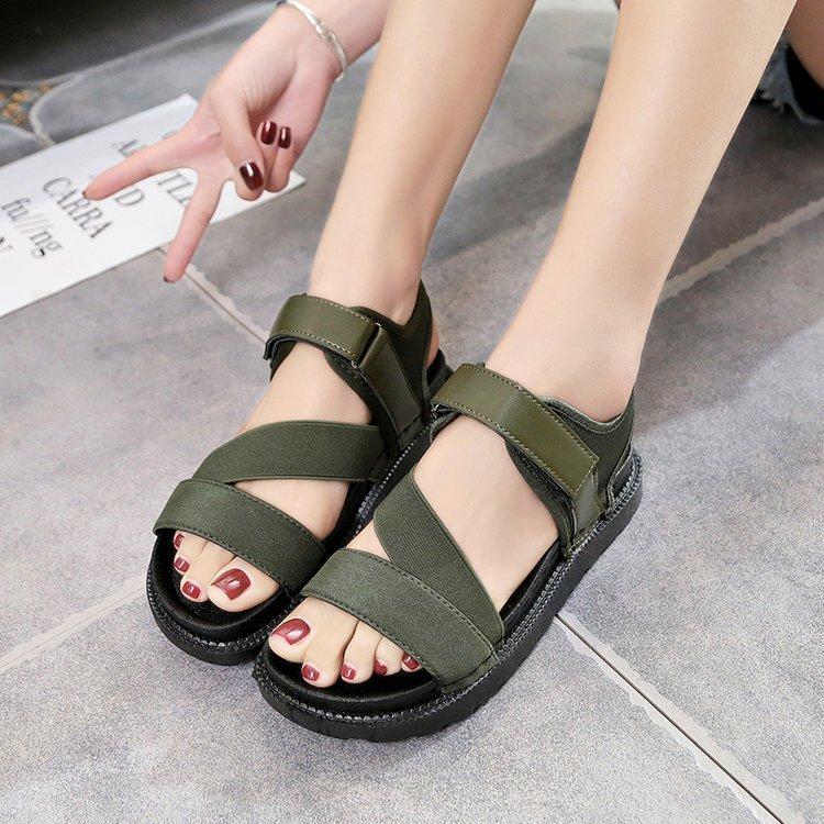 Fairy2019 Bottom Flat Autumn Leisure Time Magic Stick Toe Sandals Woman Go Online Women's Shoes