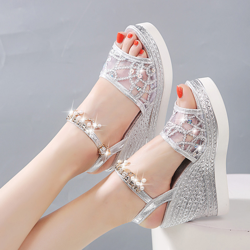 Overseas2019 New Summer Pattern High With Rhinestone A String Of Beads All-match Network Noodles Other Clothes Fish Mouth Women's Shoes Tide