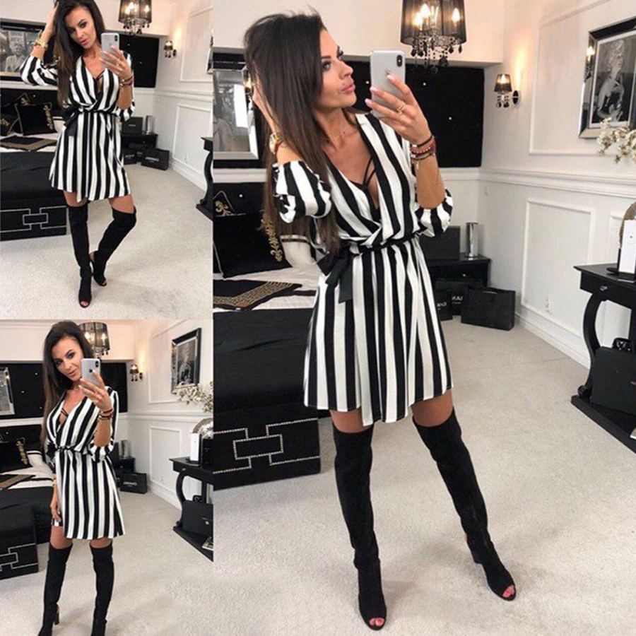 -Summer-Women-Dress-Striped-Office-A-Line-Dress-Batwing-Deep-V-Neck-Tunic-Bandage-Bodycon (1)