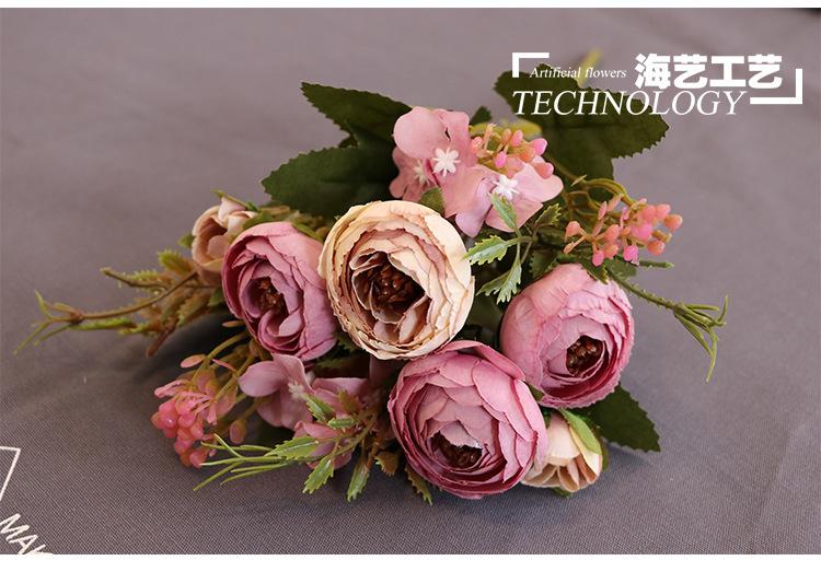 Fiore di seta di qualità di Hight europea 1 Bouquet fiori artificiali autunnali Peony falso Foglia domestica Wedding del partito Decoration C19041701