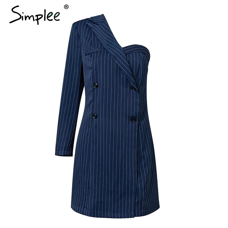 Simplee Bir Omuz Çizgili Takım Elbise Seksi Elbise A-line Kısa Kadın Elbise Ofis Bayan Rahat Sonbahar Kış Elbise Blazer Streetwear Y19041001