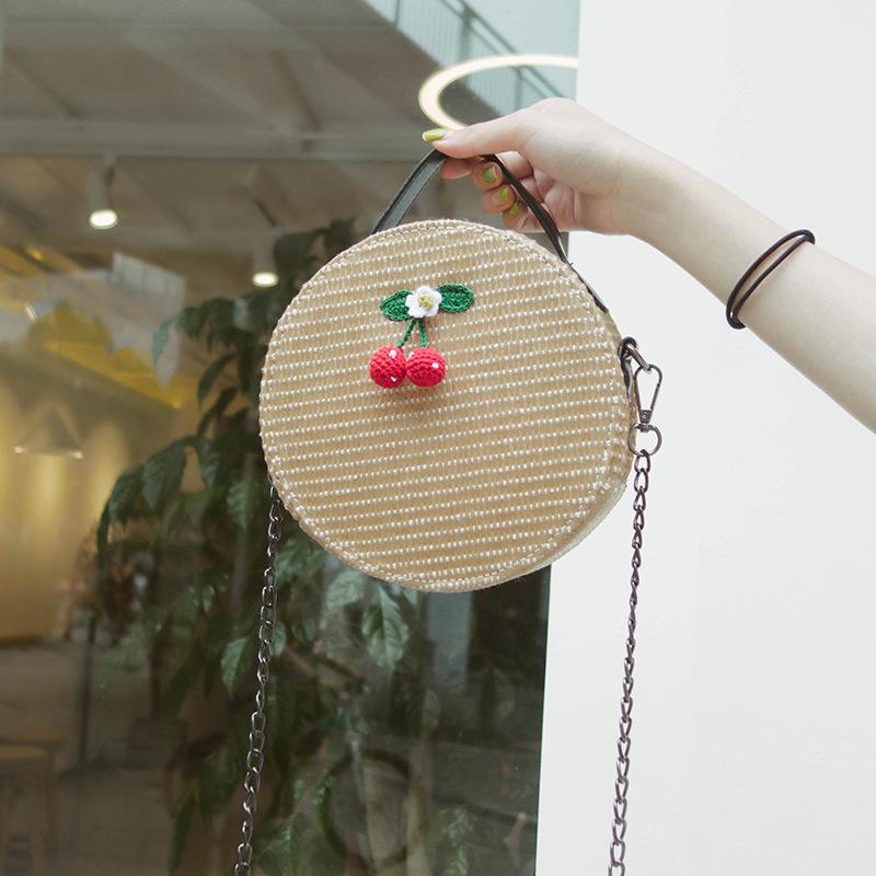 New Women Circle Handbag Summer INS Popular Female Straw Bag Cherry Lady Knit Shoulder Bag Fashion Holiday Crossbody SS7314 (7)