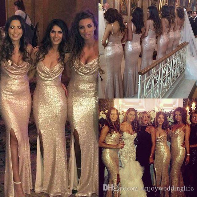 2017 New Sparkly Sequined Mermaid Bridesmaid Dresses Rose Gold Sexy Straps Spaghetti Front Slit Maid Of Honor Gowns For Wedding Party