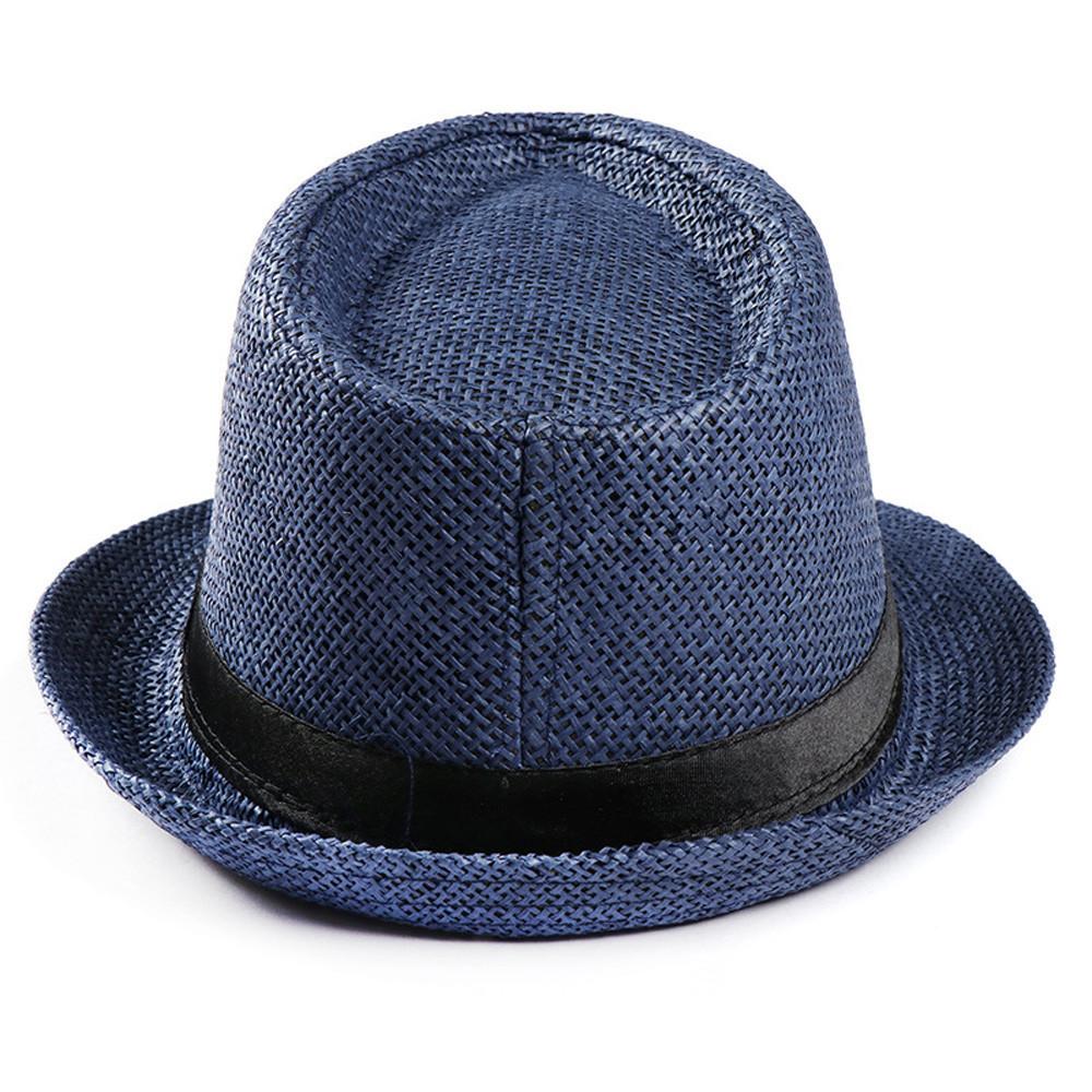 2018 Hot Unisex Women Men Fashion Summer Casual Trendy Beach Sun Straw Panama Jazz Hat Cowboy Fedora hat Gangster Cap D19011103