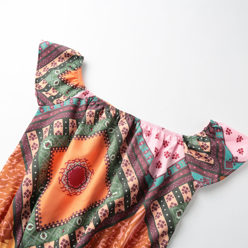 Women Off the Shoulder Jumpsuit Contrast Print Slash Neck Bodysuit Female Elastic Waist One Piece Playsuit Rompers 2017 Orange