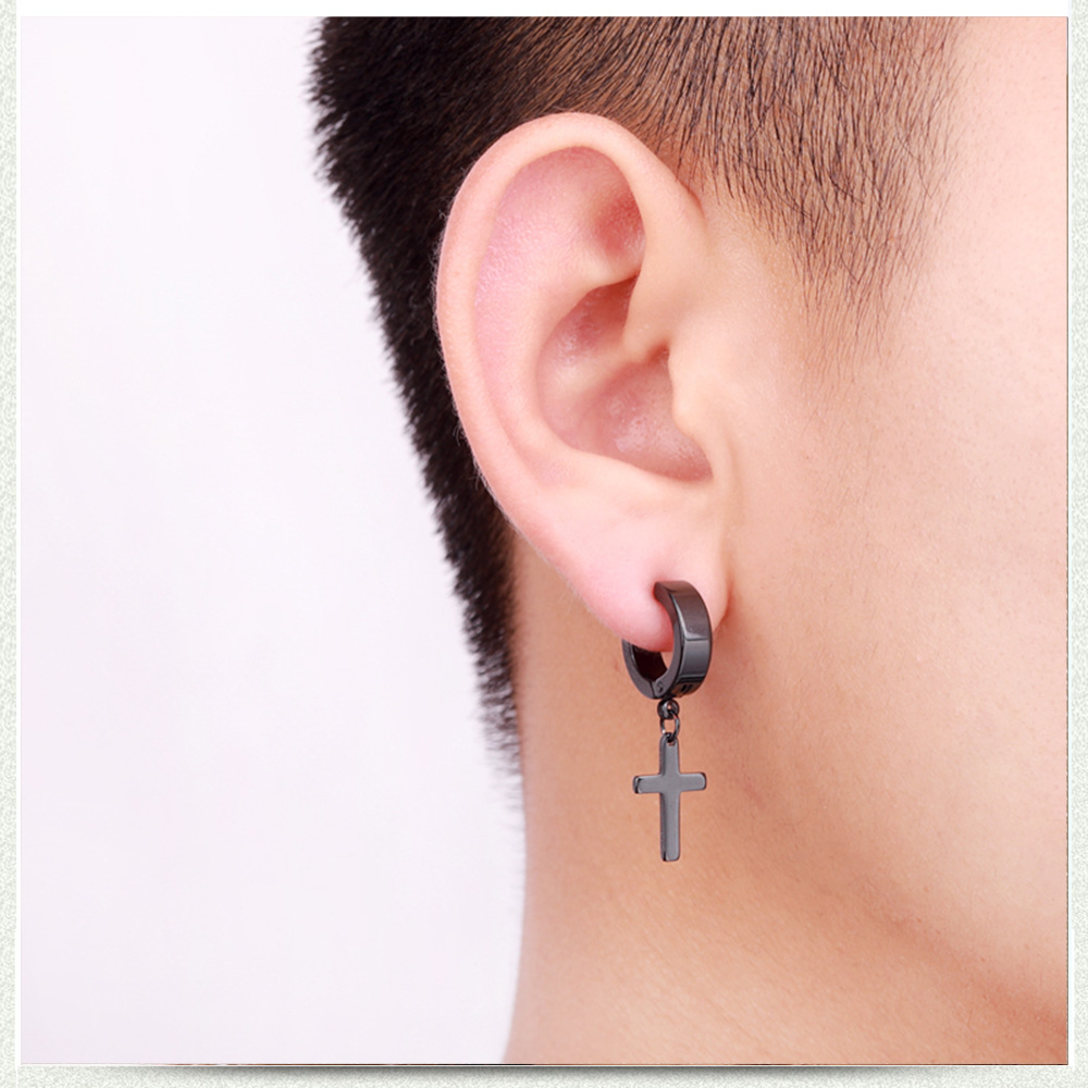 Titanium Steel Punk Rivet Ear Studs Spike Hoop Huggie Piercing Earring Hot DRZY