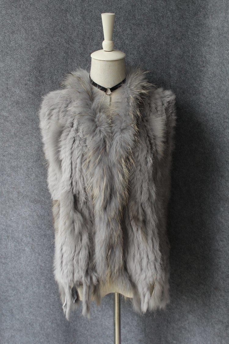 genuine real rabbit fur vest with raccoon fur collar (5)