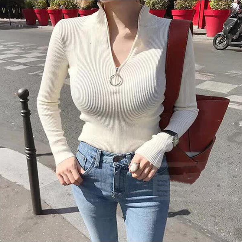 Zipper-Turtleneck-Solid-Women-Sweater-Skinny-Elastic-Knitted-Full-Sleeve-Pullover-Feminino-Soft-Femme-Spring-Jumper