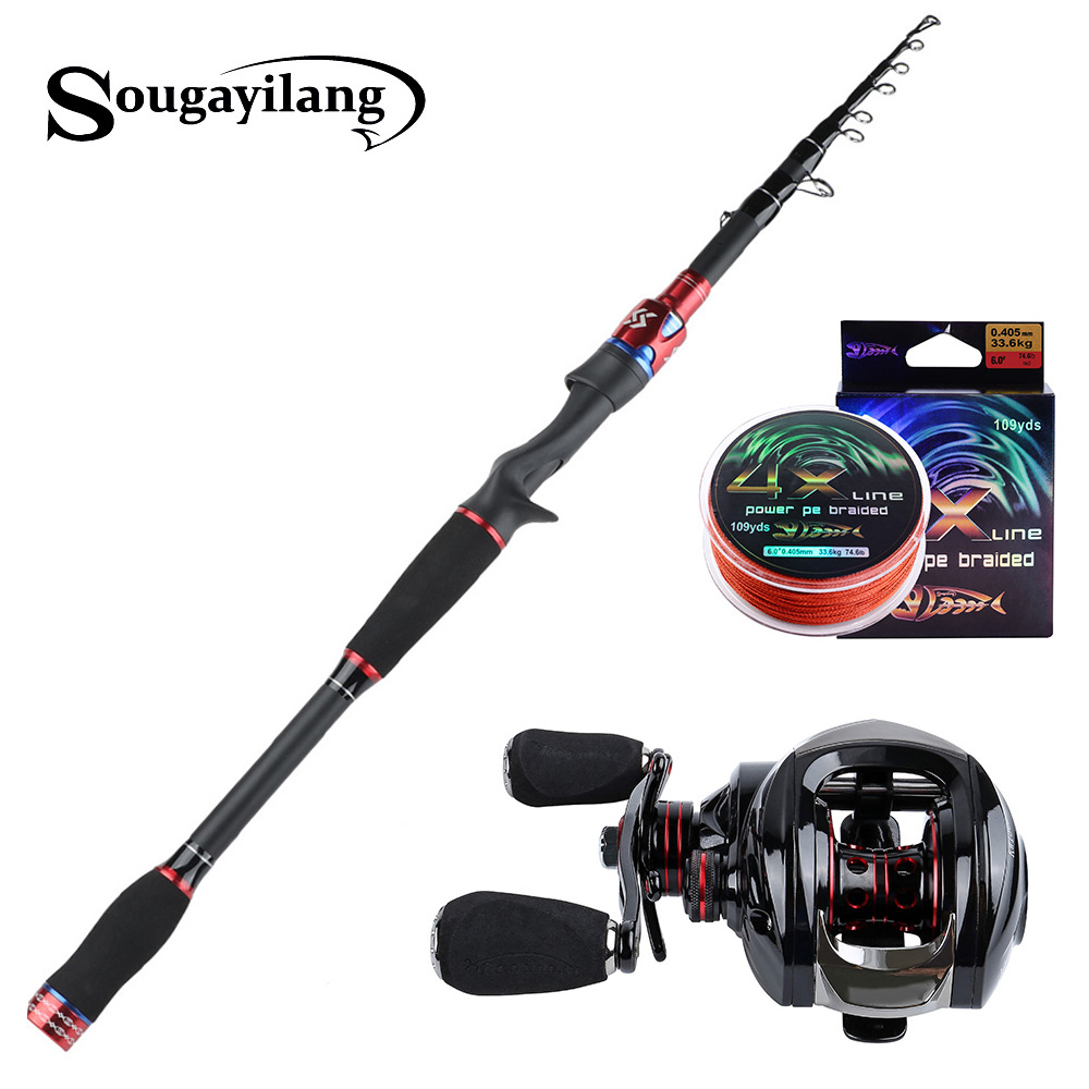 1.8-3.3m Spinning Fishing Rod Reel Combo Set Telescope Portable Including 1 Case