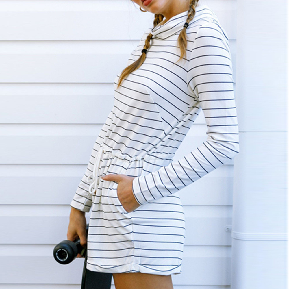 Women Autumn Casual Loose Stripe Long Sleeve Jumpsuit Playsuit Romper tracksuits Overalls Body feminino Combinaison short femme