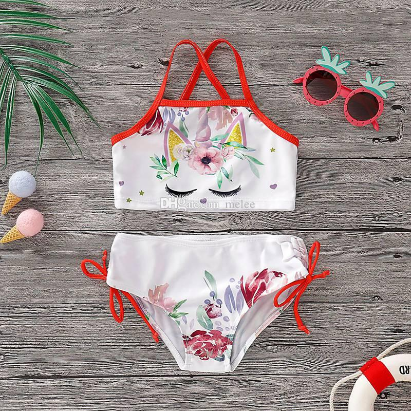 Kids Baby Girls 2Pcs Swimsuit Floral and Green Leaves Print Halter Bowknot Bikini Set Bathing Suit Swimwear