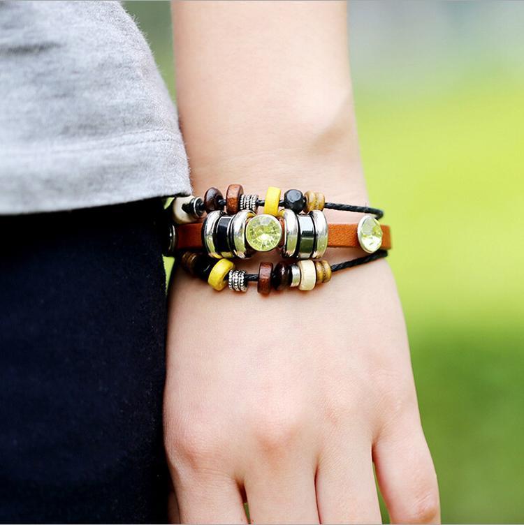 New Style Fashion Charms Bracelets Inlaid Yellow Rhinestone Beaded Leather Infinity Multi-layer Bracelets For Men Jewelry