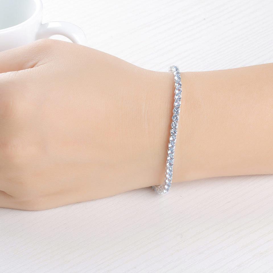925 Sterling Silver sky blue topaz bracelet for women (7)
