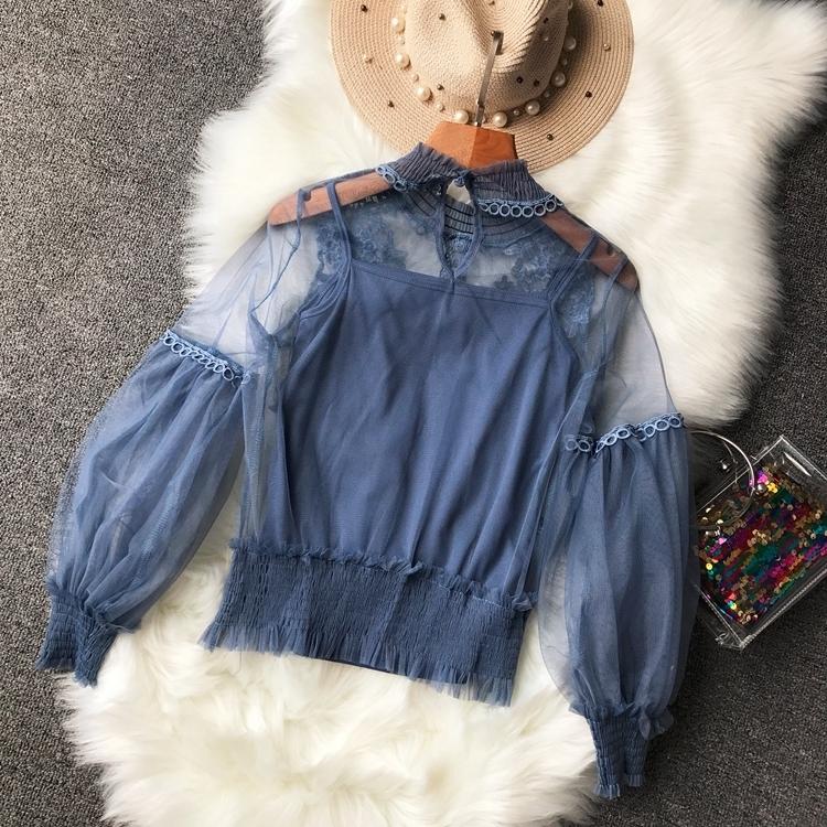 Kadın Perspektif Gazlı Bez Bluz Gömlek Fener Kol Dantel Elastik Cami Ile Dantel Tığ Örgü Blusas Fırfır Bluz Bayanlar Üst MX190710