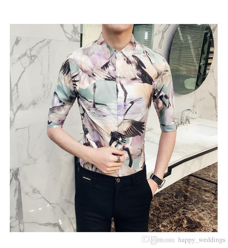 Spring Summer Men Shirt Fashion Crane Print Nice Tuxedo Shirt Men Slim Fit Half Sleeve Night Club Party Dress Shirts For Men 2XL