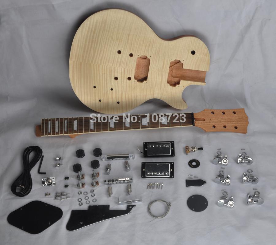 Chitarra DIY fai da te Corpo in mogano incompiuto Kit chitarra elettrica con acero fiammato Top Humbuckers