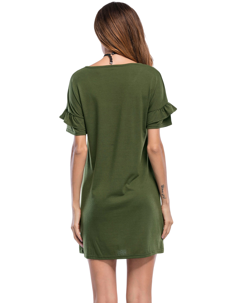 Sexy Women Casual Dress Ruffles Sleeve Solid O Neck T Shirt Dress 2019 Summer Beach Mini Dress Black/Army Green Roupas Femininas