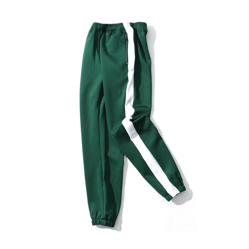 High Street INS Hip-hop Pantalones Color de ortografía y Borde blanco Pantalones deportivos Marea Hombres y mujeres Pantalones con banda de tobillo Tiempo libre Ligados pies