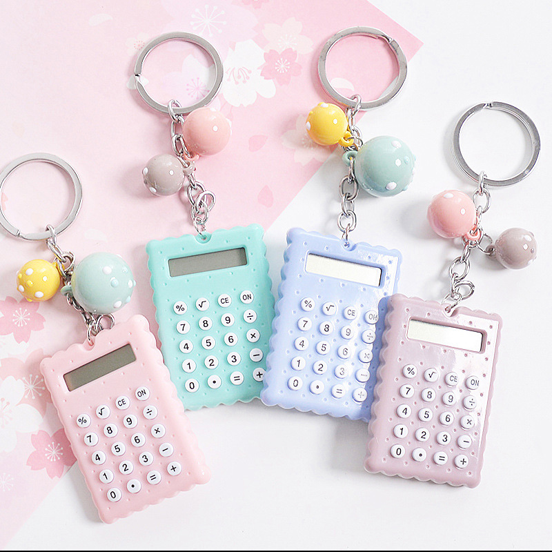 Socobeta Mini calcolatrice con Fibbia Portachiavi Portatile Simpatico Stile Portachiavi Calcolatrice Portachiavi Candy Color Pocket Calculator Blu