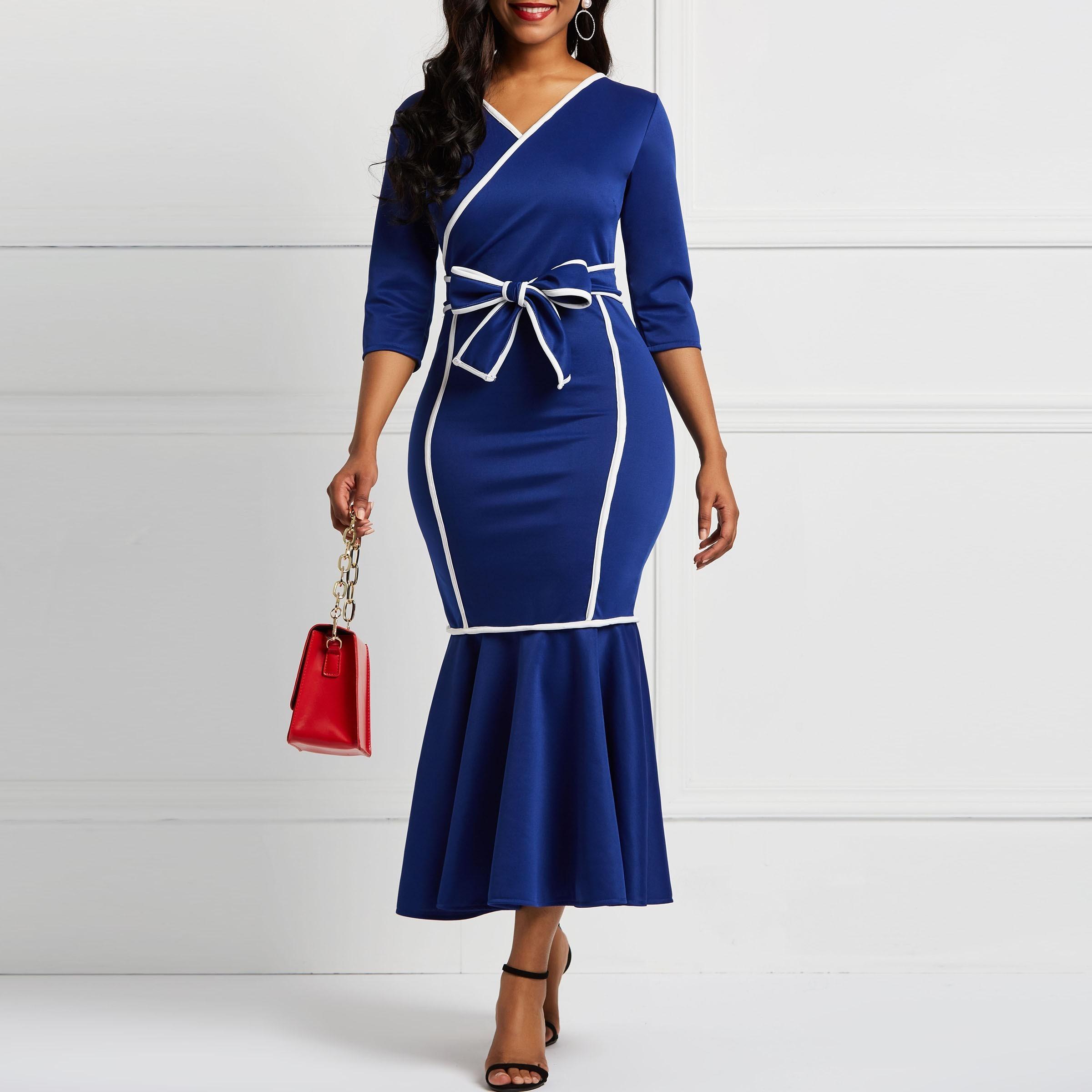 Frauen kleiden lange Hülsen Nixe Falbala V-Ansatz Farben-Block Frauen Midi Kleider Bowknot elegantes weibliches Partei-Abendessen-Kleid J190612 J190614