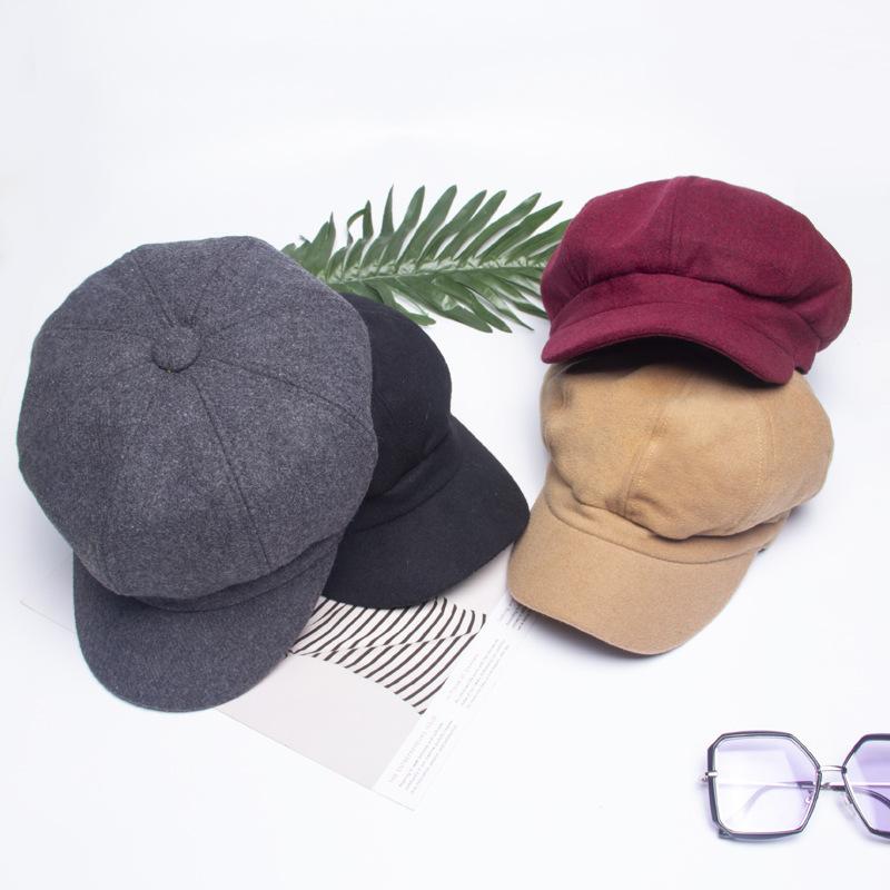 unique octagonal suede letter beret hat cap autumn winter influx men women black pumpkin painter pink