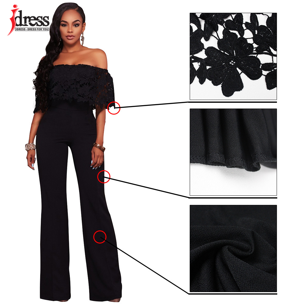 IDress Lace Crochet Rompers Women Jumpsuit Sexy Strapless Bodycon Jumpsuit Wide Leg Black White Yellow Long Pant Romper Overalls (12)