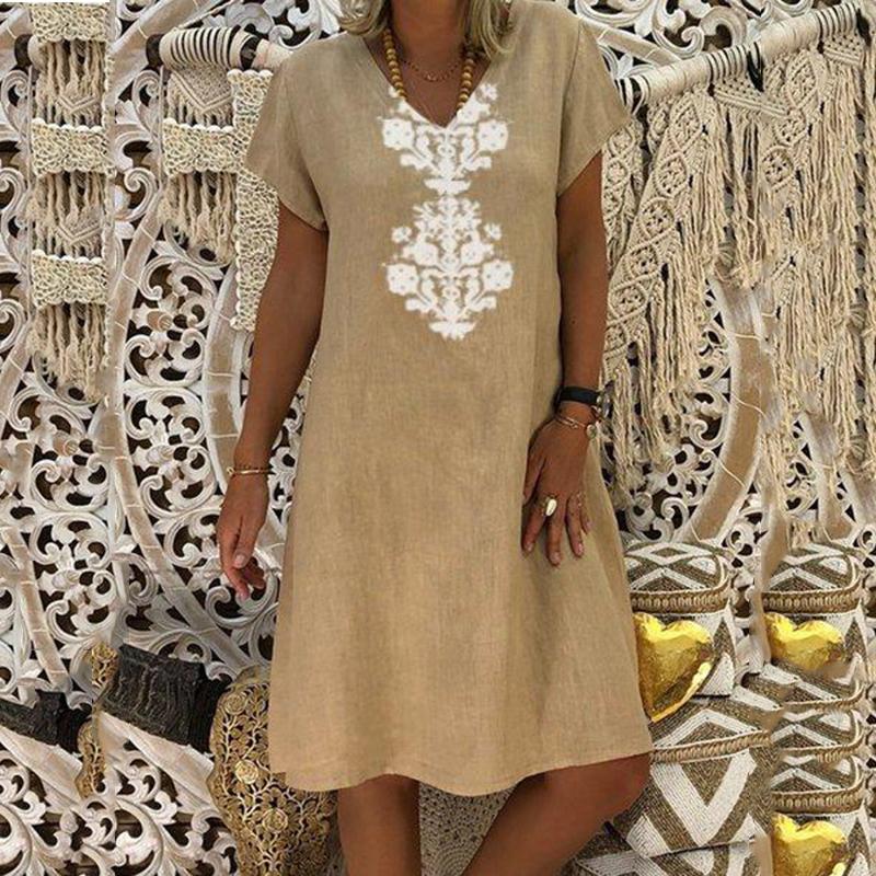 Women Dresses Knee Length Streetwear Fashion Summer Dress Women Plus Size 5XL Cotton Linen Dress Vintage Casual Vestidos Mujer 7