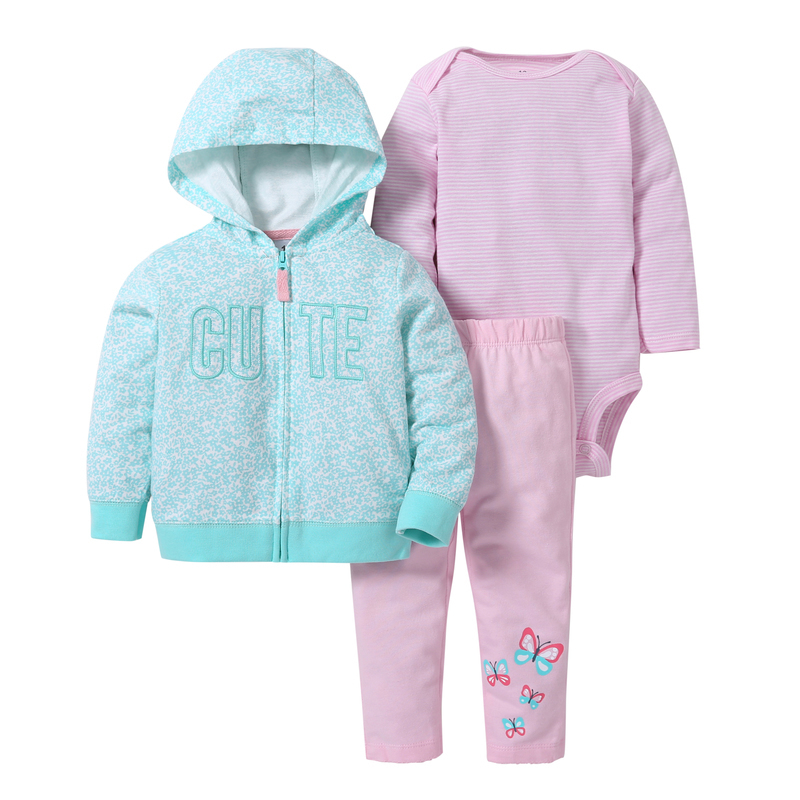 spring autumn baby girl clothes cute letter print long sleeve hoodies jackets&coat+ omper+butterfly pants BABY BOY clothing set