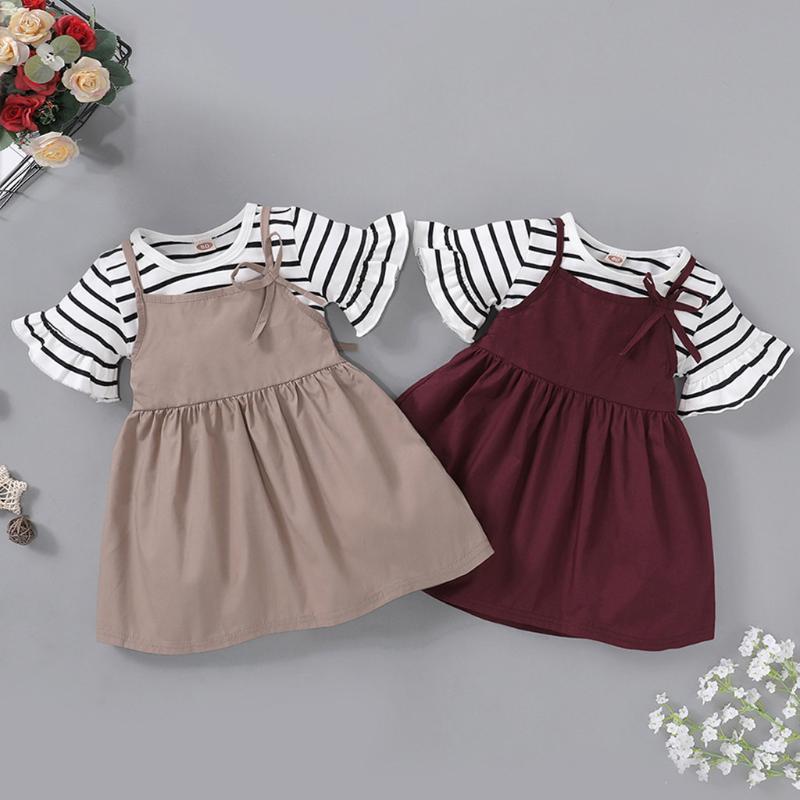 Toddler Girl Infant Baby Lotus Collar Shirt Blouse Top Button Suspender Skirt Set