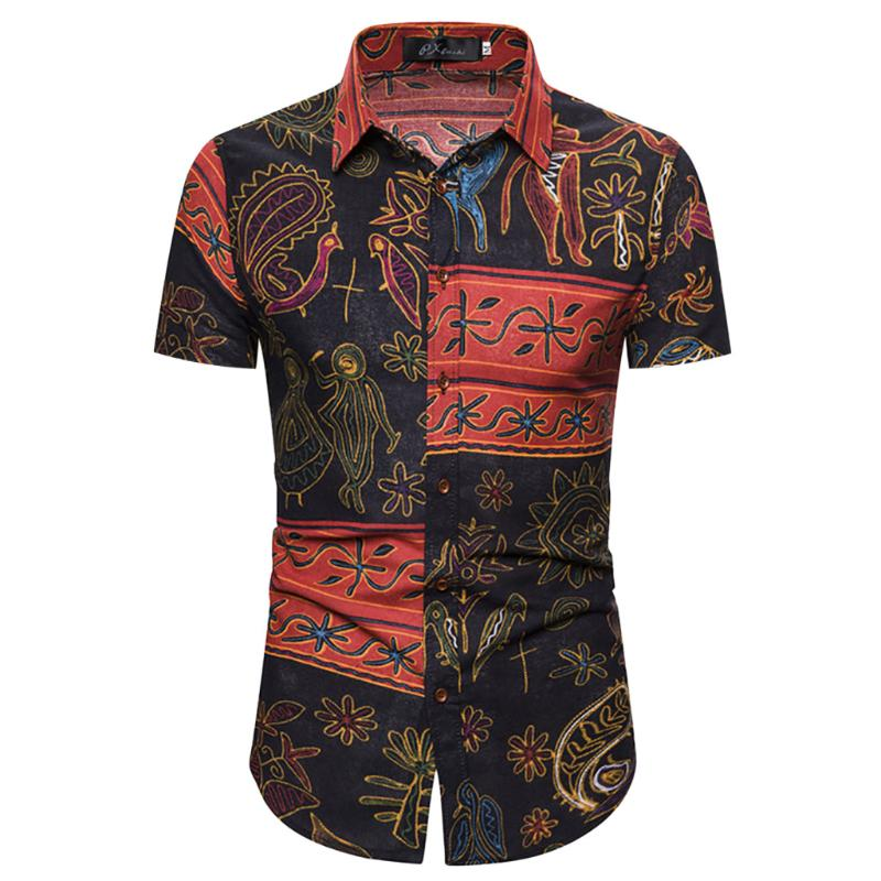SportsX Men Floral African Print Polo Shirt Short Sleeve Casual Shirt Blouse