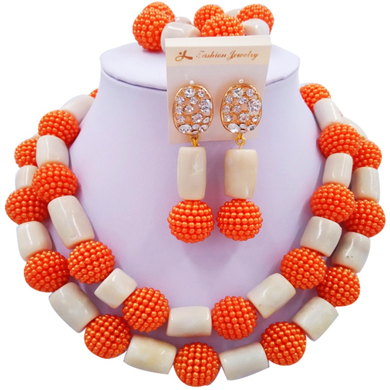 Jewelry Sets Orange and Beige