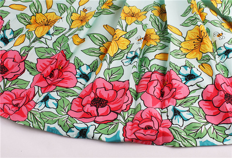 Kostlish Retro Print Flower Summer Skirts Womens High Waist Vintage Skirt Elegant A-Line Midi Women Skirt Plus Size XXL 22 (15)