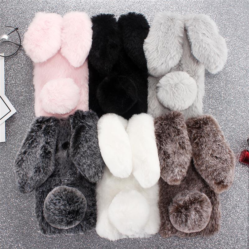 Cute Rabbit Ears Case For Huawei P20 Pro P10 P20 Lite Bunny Plush Fur Hair Silicon Phone Case For Huawei Mate 9 10 Glitter Cover