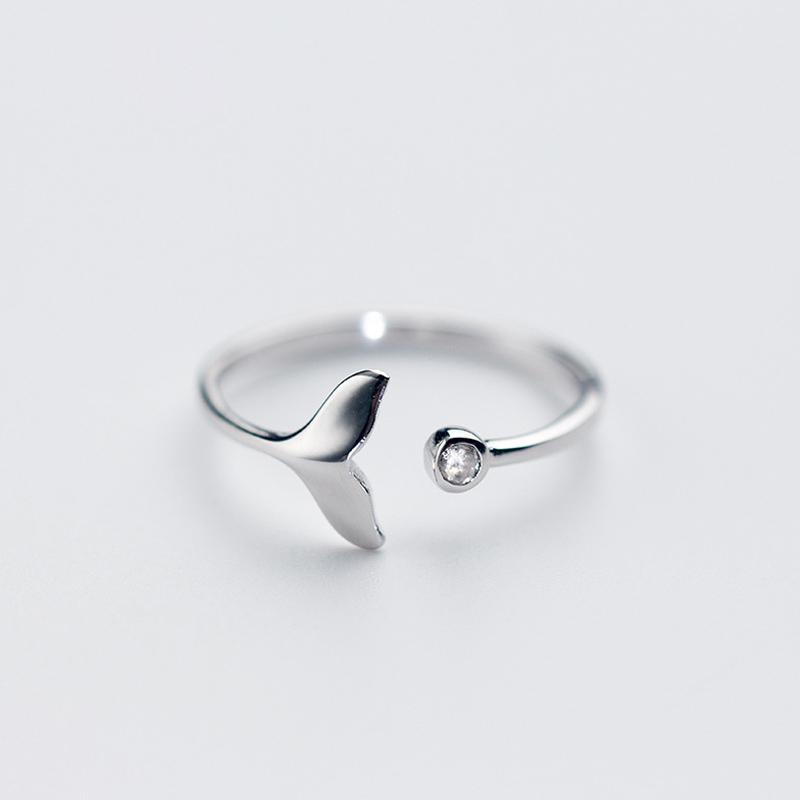 Argent Sterling 925 mignonne petite baleine Bande Bague Femmes Femme Fille Bijoux Cadeau