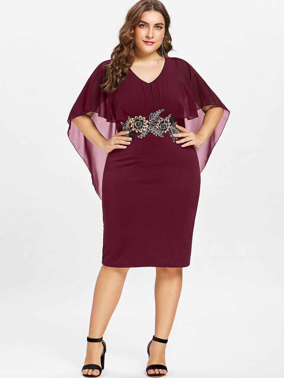 Femmes Fashions Plus La Taille 5xl Broderie Capelet Semi Sheer V Cou Robe De Fête Moitié Manches Robe De Gaine Vestidos Grande Taille designer vêtements
